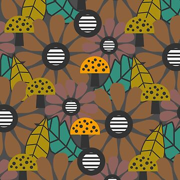 Autumn flowers, mushrooms and leaves by cocodes