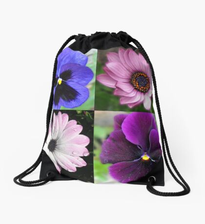 Cute Pansies and Daisies Collage Turnbeutel