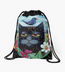Long Blue Summer Drawstring Bag