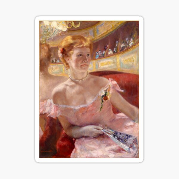 Woman with a Pearl Necklace in a Loge by Mary Stevenson Cassatt Sticker