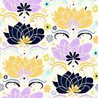 Pastel & Navy Floral  by TigaTiga