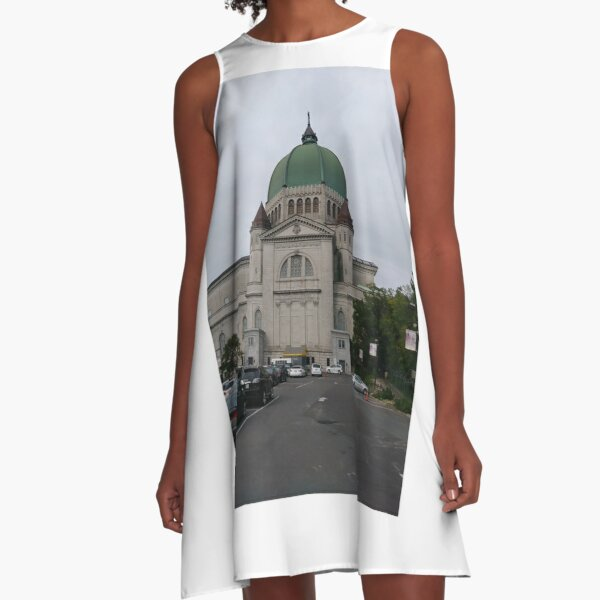 Montreal, #Montreal #City, #MontrealCity, #Canada, #buildings, #streets, #places, #views, #nature, #people, #tourists, #pedestrians, #architecture, #flowers, #monuments, #sculptures, #Cathedral A-Line Dress