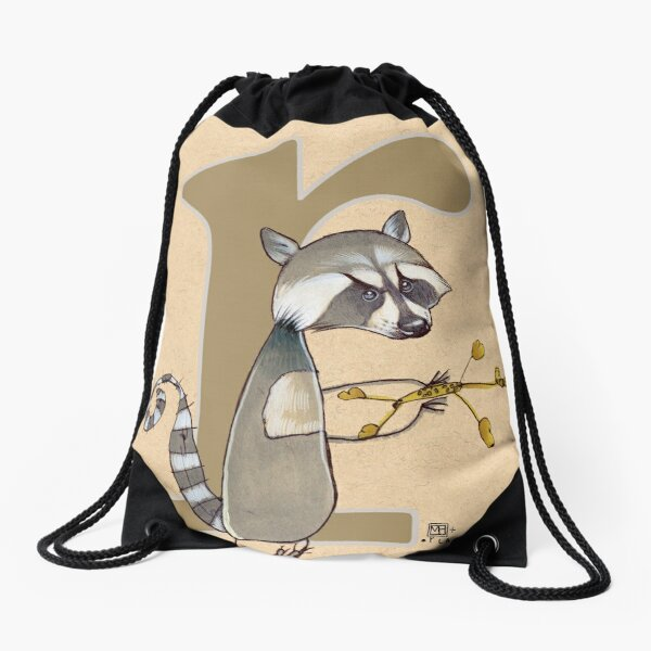 R is for RACCOON Drawstring Bag