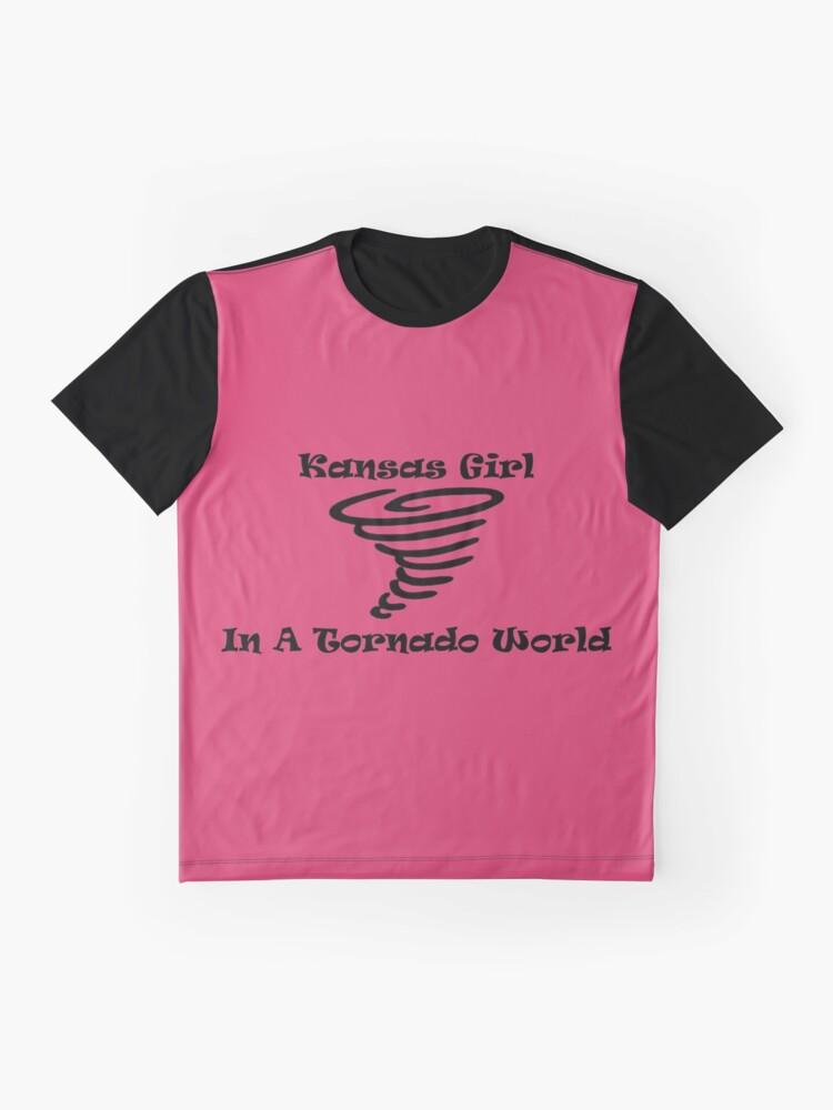 Alternate view of Kansas Girl In A Tornado World Graphic T-Shirt
