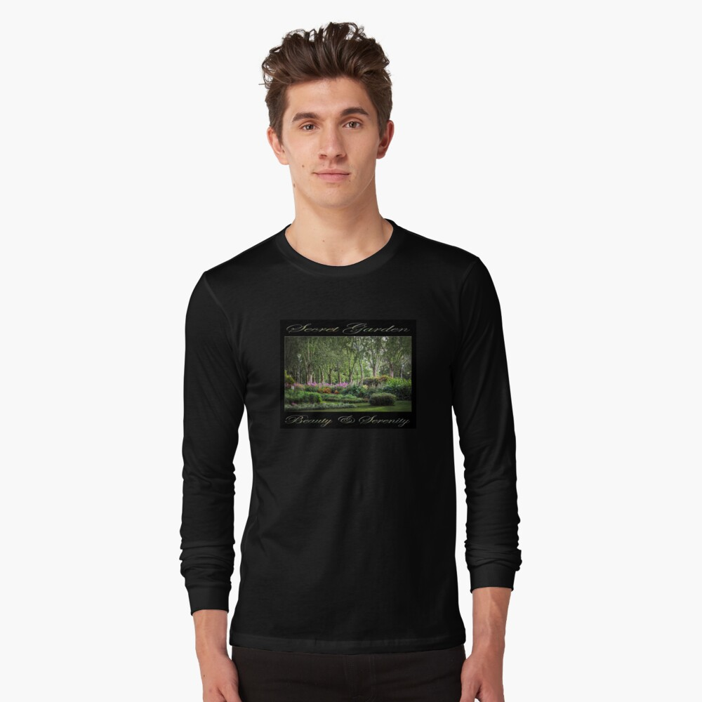 Secret Garden, Beauty & Serenity (on black) Long Sleeve T-Shirt