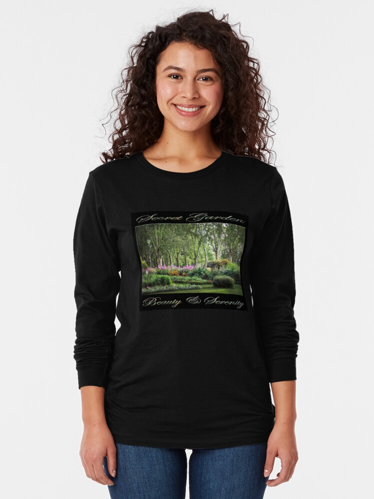 Alternate view of Secret Garden, Beauty & Serenity (on black) Long Sleeve T-Shirt