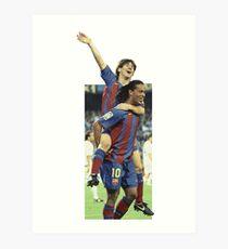 Messi - Ronaldinho - first goal messi Art Print
