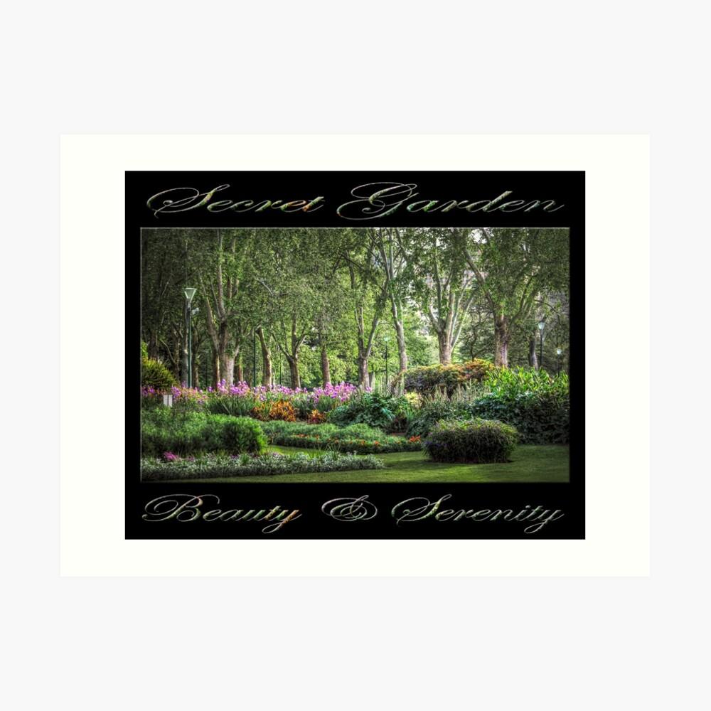 Secret Garden, Beauty & Serenity (on black) Art Print