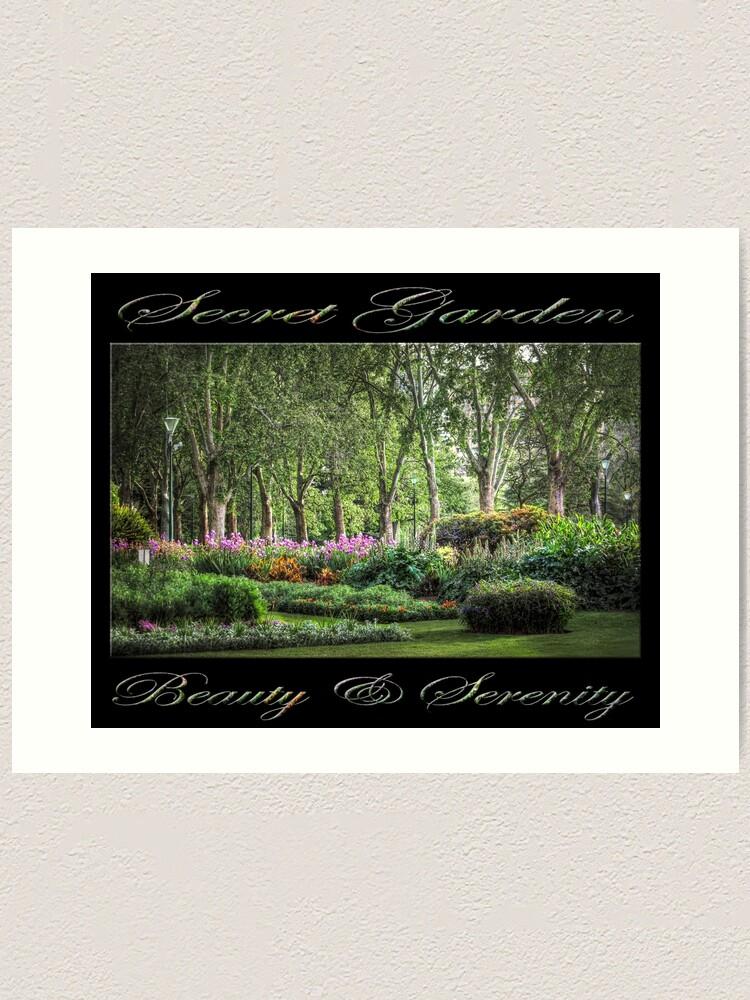 Alternate view of Secret Garden, Beauty & Serenity (on black) Art Print