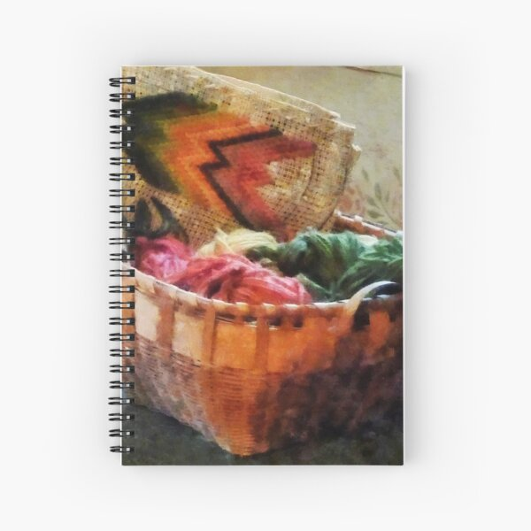 Basket of Yarn and Tapestry Spiral Notebook