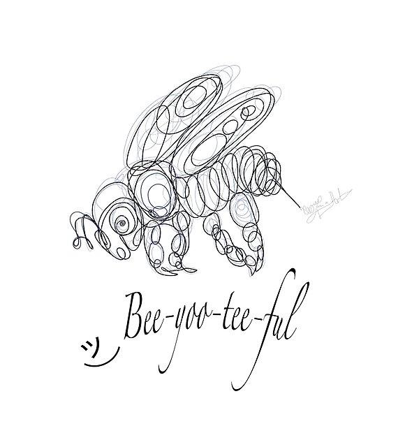 OLena Art Tee Design Bee-yoo-tee-ful Drawing by OLena Art @Lena Owens