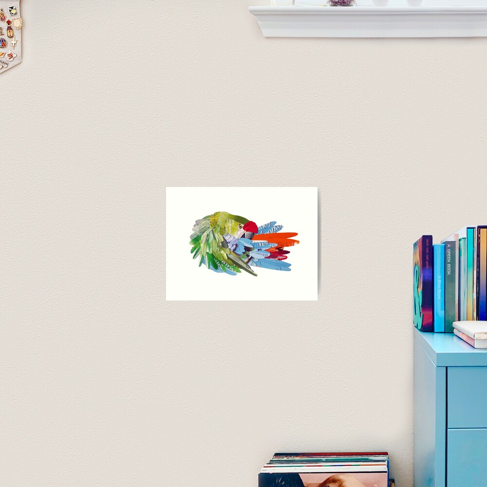 Macaw rearranging feathers Art Print