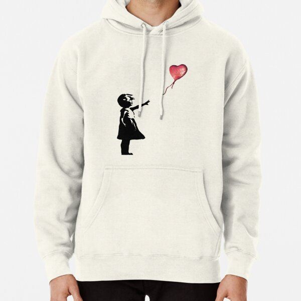 Banksy - Girl with balloon red Pullover Hoodie