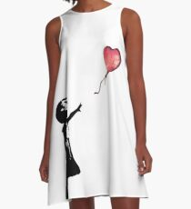 Banksy - Girl with balloon red A-Line Dress