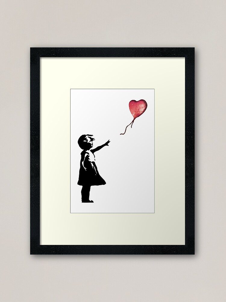 Alternate view of Banksy - Girl with balloon red Framed Art Print