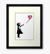 Banksy - Mädchen mit Ballon rot Gerahmtes Wandbild