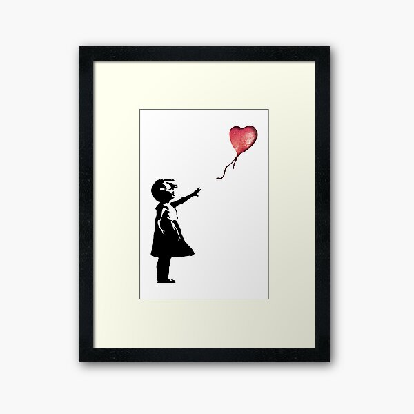 Banksy - Girl with balloon red Framed Art Print