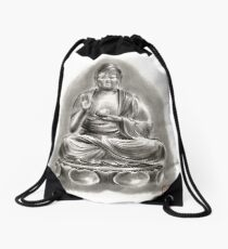 Buddha Medicine sumi-e tibetan calligraphy 禅 figure sculpture original ink painting artwork Drawstring Bag
