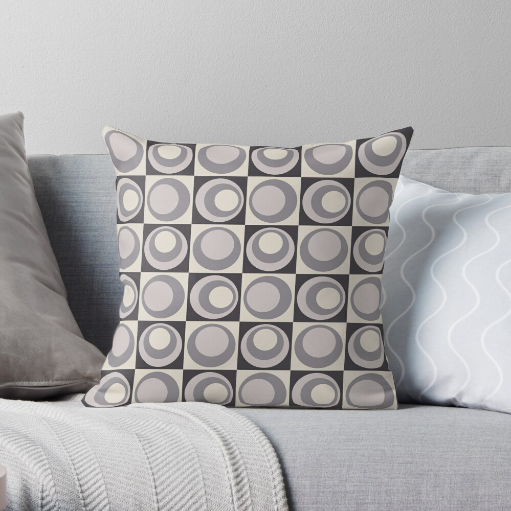 Shades Of Grey Circle Geometric Pattern Throw Pillow By Ilexdesigns Redbubble
