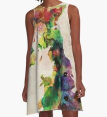 United Kingdom Watercolor Map A-Line Dress