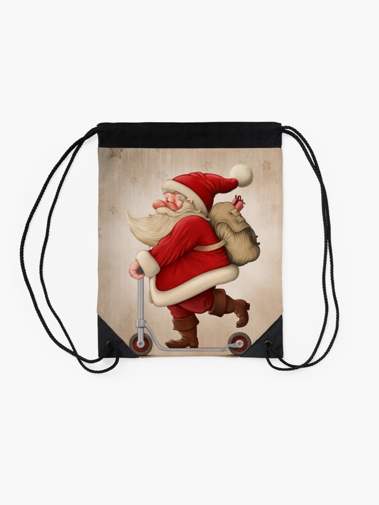 Alternate view of Santa Claus and the Push scooter Drawstring Bag