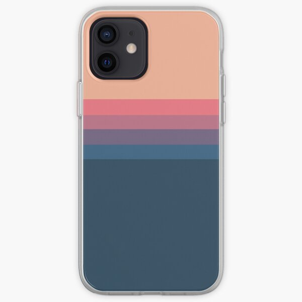 Coral blue Color blocks pattern  iPhone Soft Case