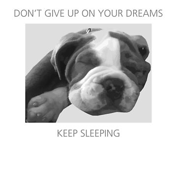 SLEEPING OLD ENGLISH BULLDOG - DON'T GIVE UP ON YOUR DREAMS KEEP SLEEPING by decentraltees