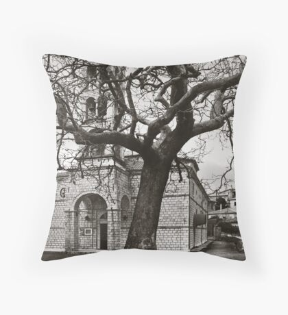 Tree and Church Throw Pillow