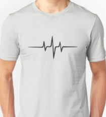 Music Puls Frequenz Heartbeat Welle Minimal Techno Rave Slim Fit T-Shirt