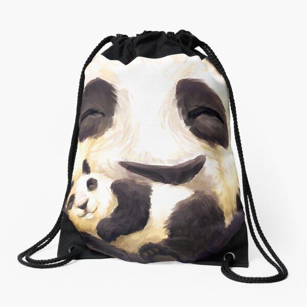 Panda hug Drawstring Bag