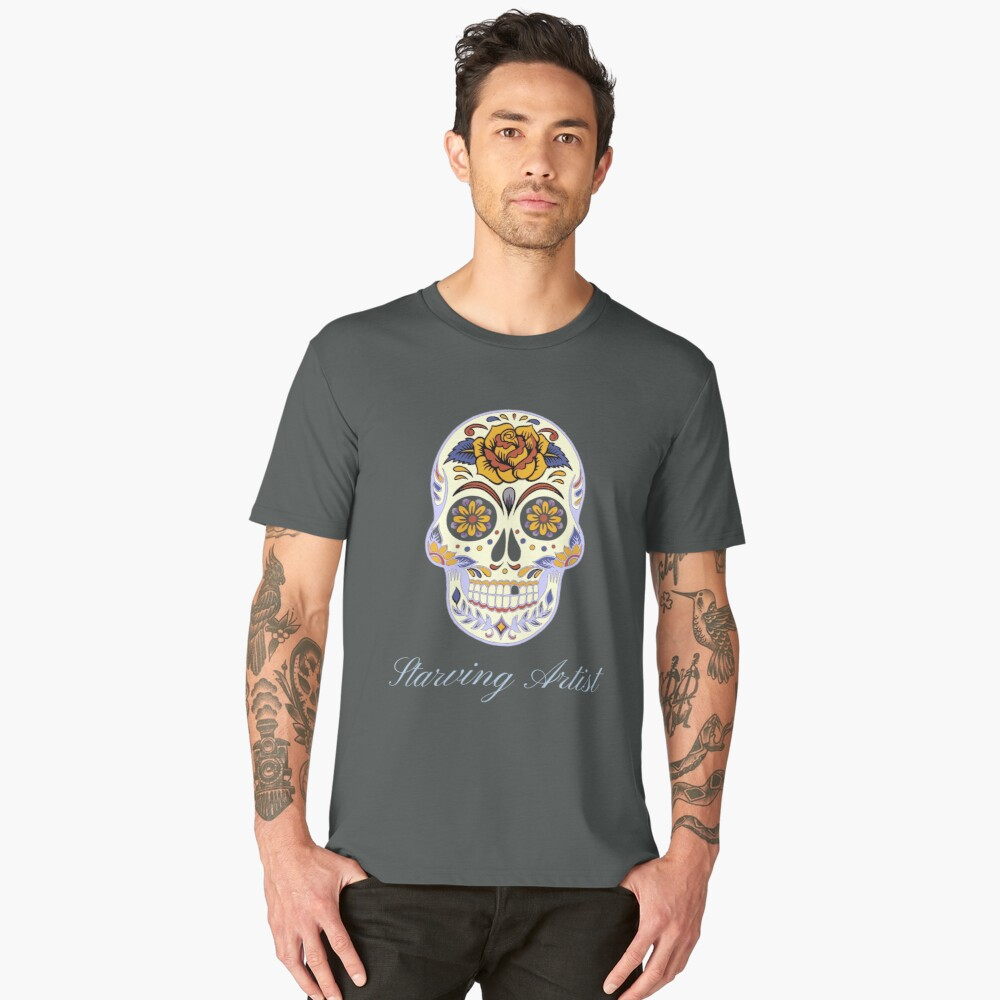Starving Artist Decorative Skull Design Men's Premium T-Shirt Front
