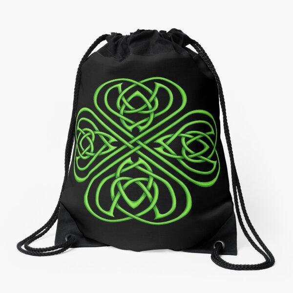 Irish Shamrock - Green Celtic Knotwork Drawstring Bag