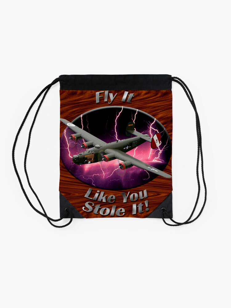 Alternate view of B-24 Liberator Fly It Like You Stole It Drawstring Bag