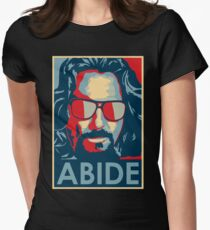 The Dude Abides T Shirt, Abide, Yes We Can Obama Parody Original Design Women's Fitted T-Shirt