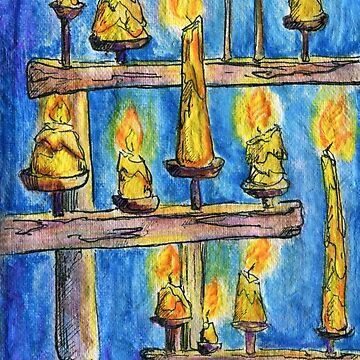 Lots of candles burning. Blue background. Watercolor sketch by rusmashart