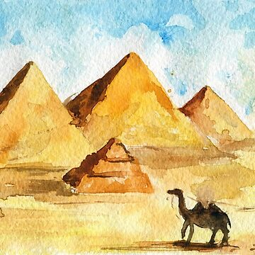 Egyptian pyramids in desert , camels. Watercolor sketch by rusmashart