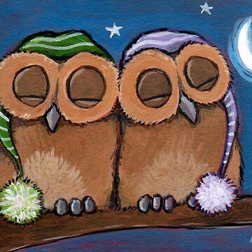 Cute Sleeping Owls with Nightcaps by LisaMarieArt