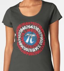 Captain Pi Funny Pi Day Superhero Style for Math Geeks and Nerds Women's Premium T-Shirt