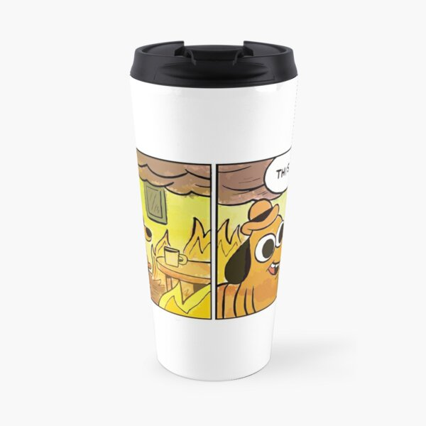This Is Fine Meme Dog Travel Mug