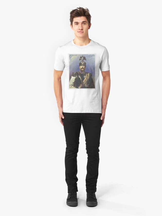 Alternate view of Kaiser Wilhelm II with Prussian Royal Guards helmet  Slim Fit T-Shirt