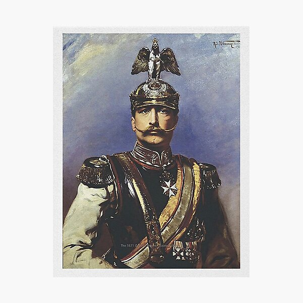 Kaiser Wilhelm II with Prussian Royal Guards helmet  Photographic Print
