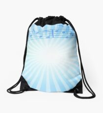 Music Notes Blue Sunburst Drawstring Bag