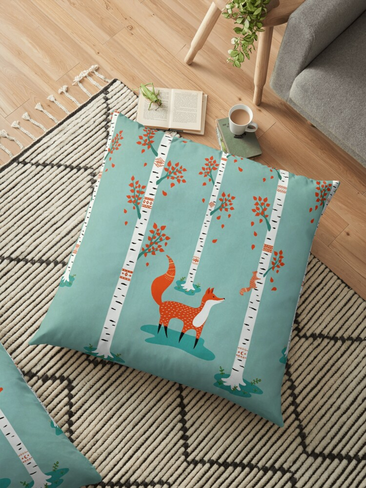 Fox - Squirrel - Birch trees - Fall by Cristina Bianco Design
