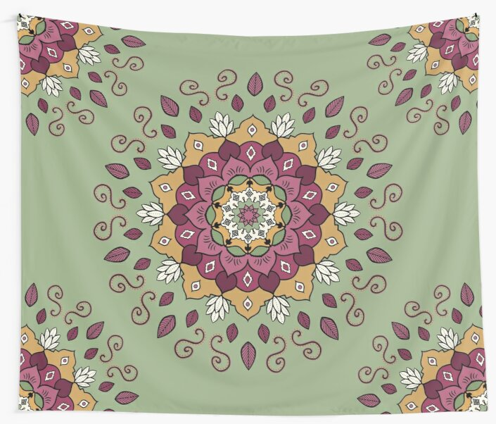 Green Yellow Pink Mandala Design by Cristina Bianco Design