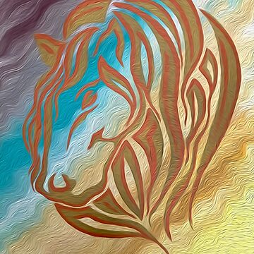 Copper & Old Gold Abstract Mare by DPArtGallery