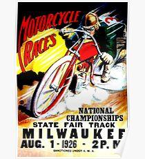"""""""MOTORRAD-RACES"""" Vintage State Fair Racing Print Poster"""