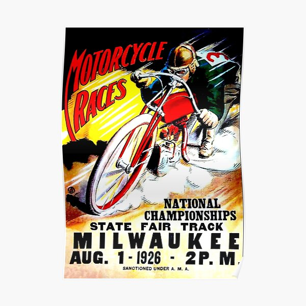 """MOTORCYCLE RACES"" Vintage State Fair Racing Print Poster"