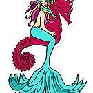 mermaid and seahorse by wildmagnolia