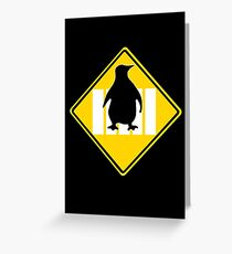 LINUX TUX PENGUIN CROSSING ROAD SIGN Greeting Card