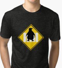 LINUX TUX PENGUIN CROSSING ROAD SIGN Tri-blend T-Shirt